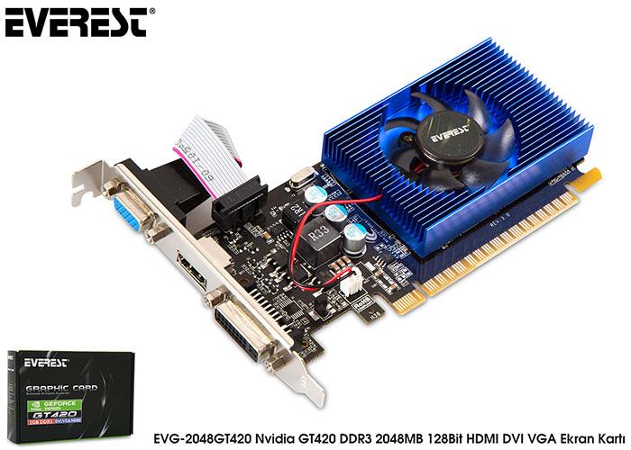 Everest EVG-2048GT420 Nvidia GeForce GT420 2GB 128Bit DDR3 (DX11) PCI-E 2.0 Ekran Kartı