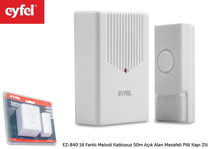 Eyfel EZ-840 16 Farklı Melodi Kablosuz 50m Açık Alan Mesafeli Pilli Kapı Zili