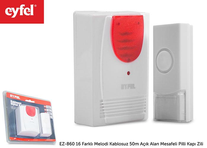 Eyfel EZ-860 16 Farklı Melodi Kablosuz 50m Açık Alan Mesafeli Pilli Kapı Zili