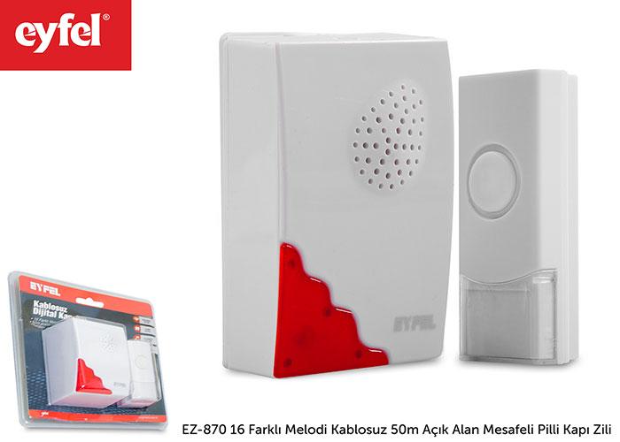 Eyfel EZ-870 16 Farklı Melodi Kablosuz 50m Açık Alan Mesafeli Pilli Kapı Zili