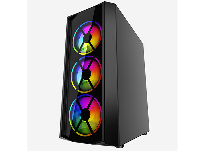 Everest FLAT GLASS 4*12cm Rainbow Fan Tempered Camlı Gaming Oyuncu Kasası