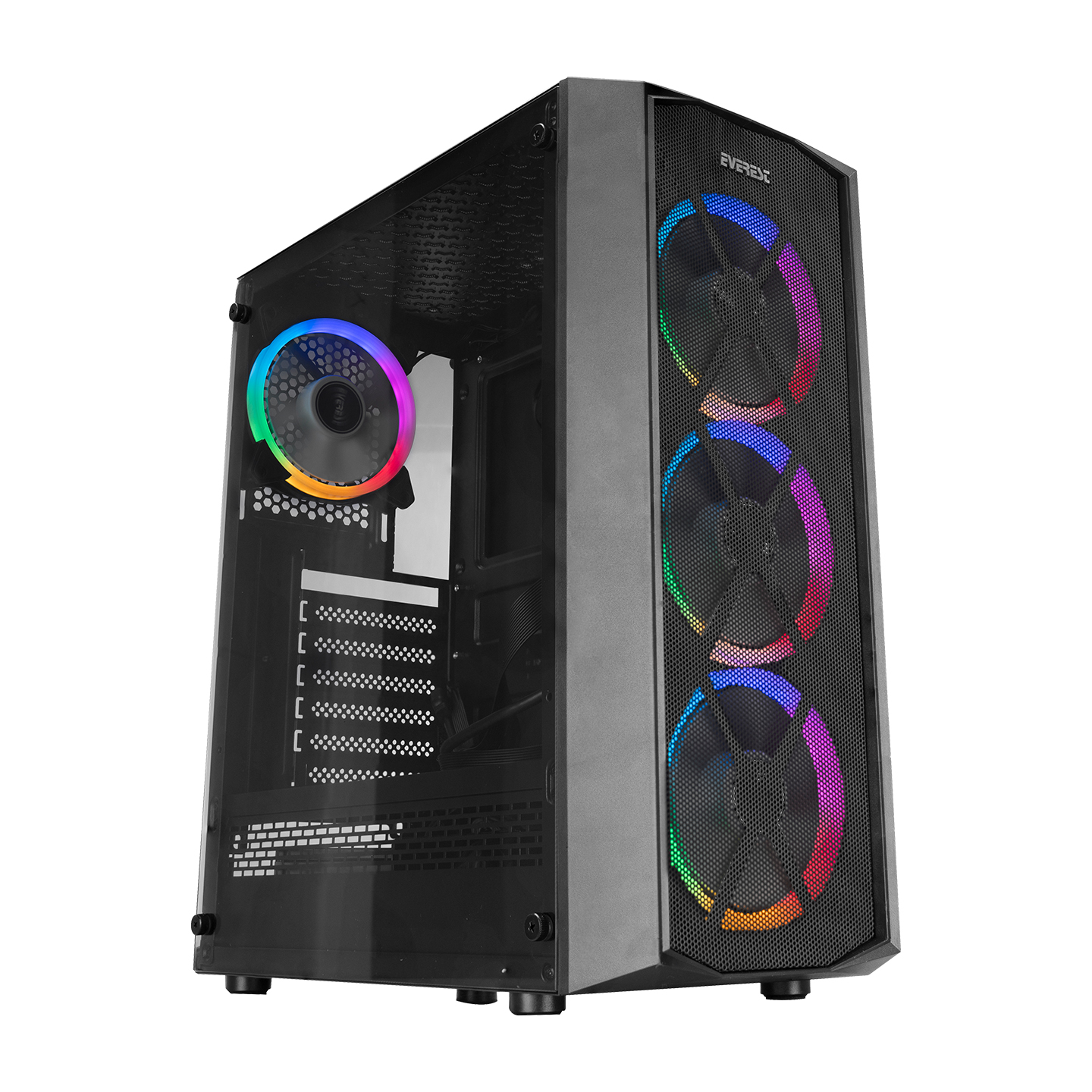 Everest FLAT MESH 4*12cm Rainbow Fan Tempered Camlı Gaming Oyuncu Kasası