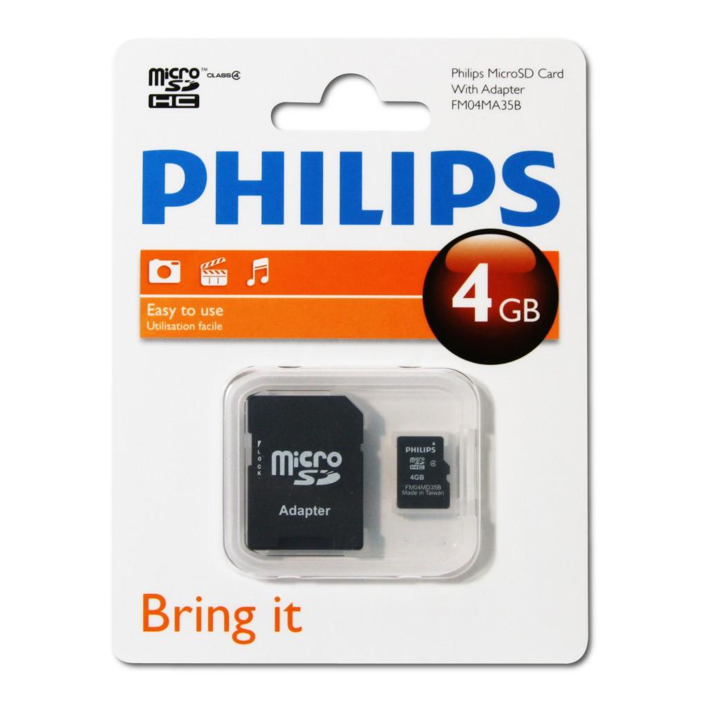 Philips FM04MA35B/97 4 Gb Class4 Adaptörlü Micro SD Kart Bellek