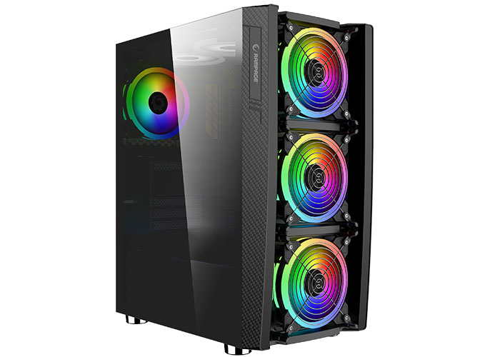 Rampage HACKER Tempered Glass 600W 80 Plus Bronze Black 4 * RGB Fan  Control Gaming Player Case