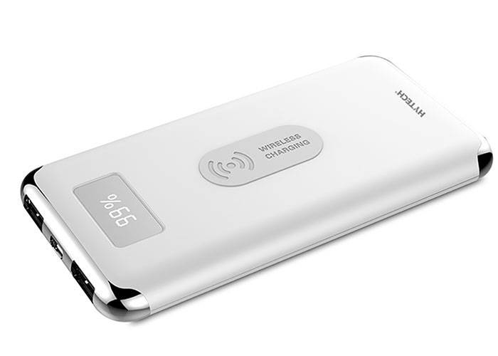 Hytech HP-C10W 10000mAh Powerbank 2 Usb Port White Wireless Portable Power Pack