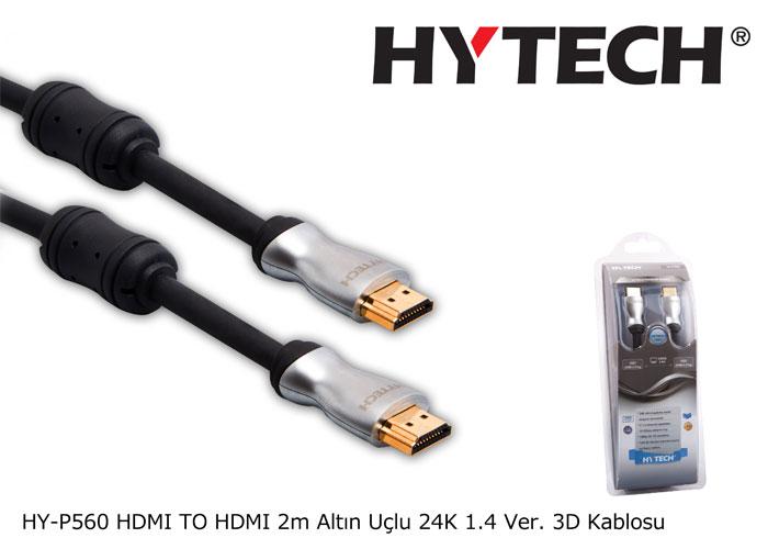 Hytech HY-P560 HDMI TO HDMI 2m Altın Uçlu 24K 1.4 Ver. 3D Kablosu