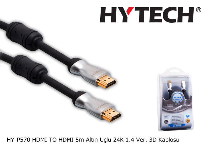 Hytech HY-P570 HDMI TO HDMI 5m Altın Uçlu 24K 1.4 Ver. 3D Kablosu