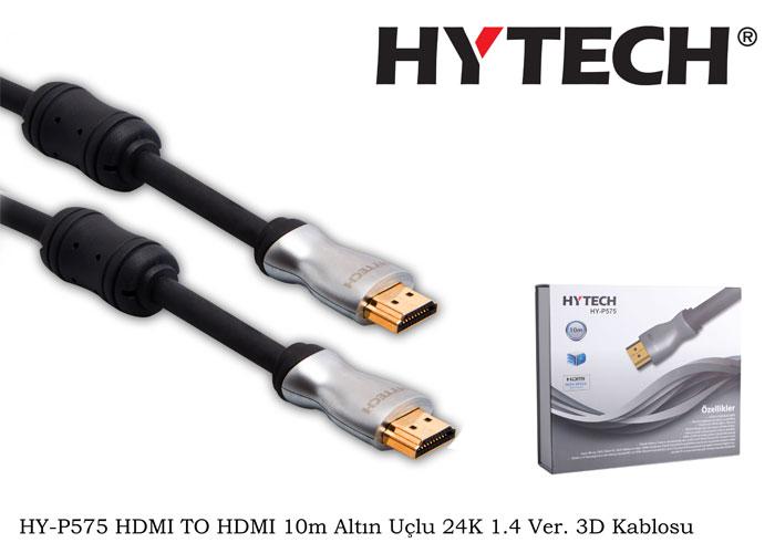 Hytech HY-P575 HDMI TO HDMI 10m Altın Uçlu 24K 1.4 Ver. 3D Kablosu