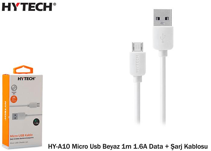 Hytech HY-A10 Micro Usb Beyaz 1m 1.6A Data + Şarj Kablosu