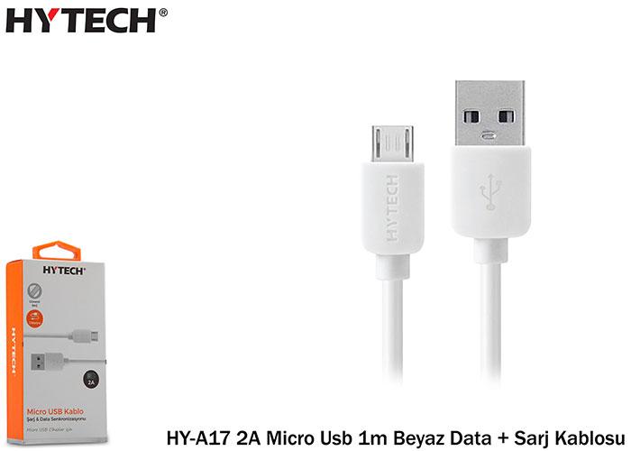 Hytech HY-A17 2A Micro Usb 1m Beyaz Data + Sarj Kablosu