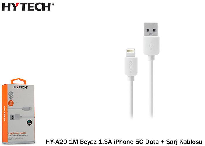 Hytech HY-A20 1M Beyaz 1.3A iPhone 5G Data + Şarj Kablosu