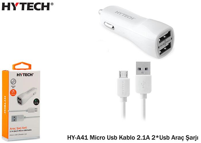 Hytech HY-A41 Micro Usb Kablo 2.1A 2*Usb Araç Şarjı