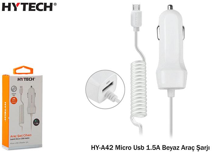 Hytech HY-A42 Micro Usb 1.5A Beyaz Araç Şarjı