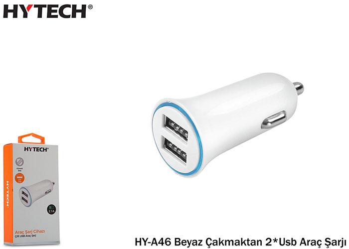 Hytech HY-A46 Beyaz Çakmaktan 2*Usb Araç Şarjı
