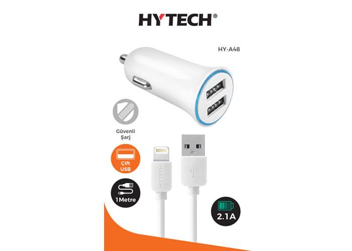 Hytech HY-A48 iPhone Lightning Kablo 2.1A 2*Usb Beyaz Araç Şarjı