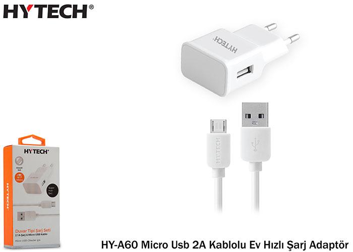 Hytech HY-A60 Micro Usb 2A Kablolu Ev Hızlı Şarj Adaptör