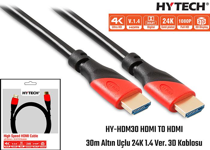 Hytech HY-HDM30 HDMI TO HDMI 30m Altın Uçlu 24K 1.4 Ver. 3D Kablosu
