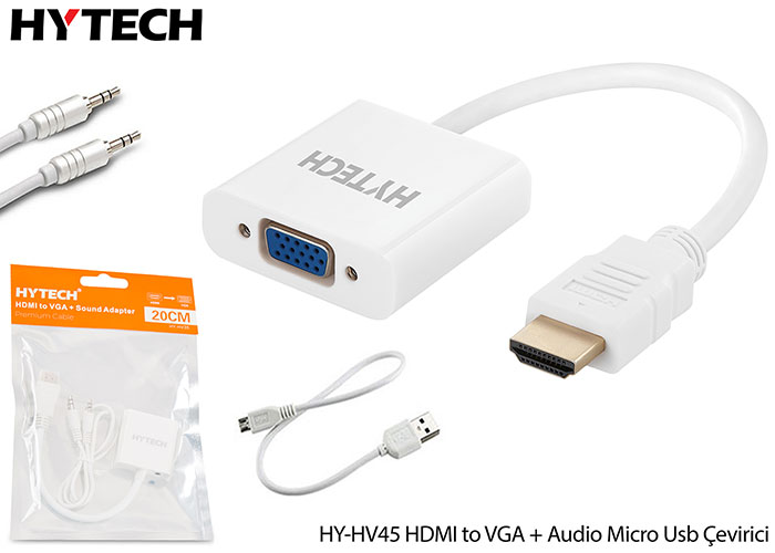 Hytech HY-HV45 HDMI to VGA + Audio Micro Usb Çevirici