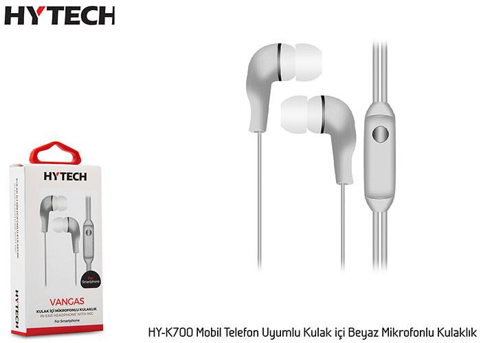 Hytech HY-K700 Mobil Telefon Uyumlu Kulak içi Beyaz Mikrofonlu Kulaklık