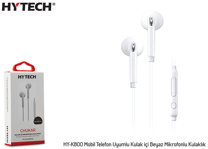 Hytech HY-K800 Mobile Phone Compatible In-ear White Headset with Microphone