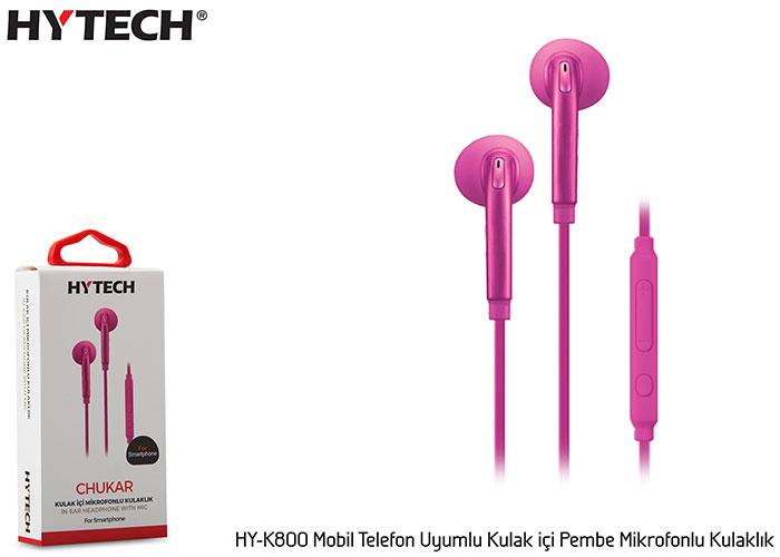 Hytech HY-K800 Mobil Telefon Uyumlu Kulak içi Pembe Mikrofonlu Kulaklık