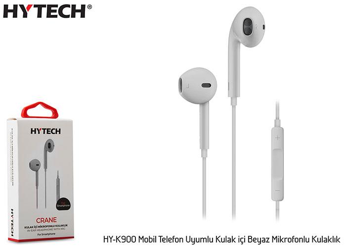 Hytech HY-K900 Mobil Telefon Uyumlu Kulak içi Beyaz Mikrofonlu Kulaklık