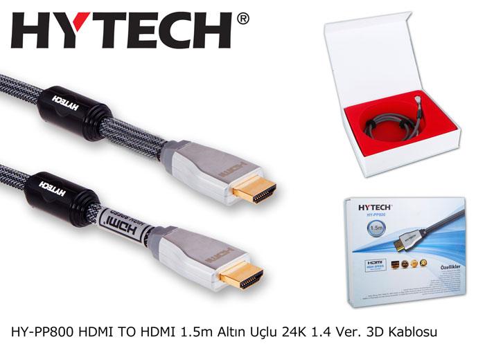 Hytech HY-PP800 HDMI TO HDMI 1.5m Altın Uçlu 24K 1.4 Ver. 3D Kablosu
