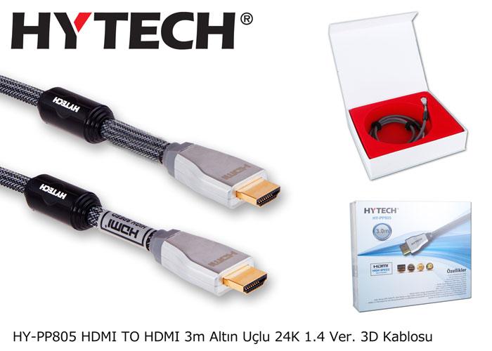 Hytech HY-PP805 HDMI TO HDMI 3m Altın Uçlu 24K 1.4 Ver. 3D Kablosu