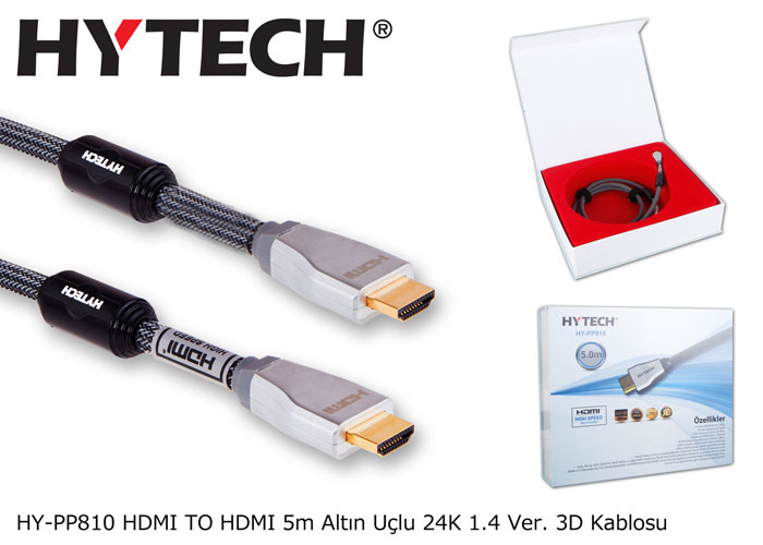 Hytech HY-PP810 HDMI TO HDMI 5m Altın Uçlu 24K 1.4 Ver. 3D Kablosu