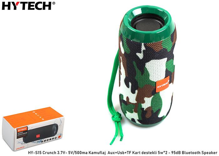 Hytech HY-S15 Crunch 3.7V- 5V/500ma Kamuflaj Aux+Usb+TF Kart destekli 5w*2 - 95dB Bluetooth Speaker