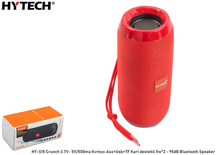 Hytech HY-S15 Crunch 3.7V- 5V/500ma Kırmızı Aux+Usb+TF Kart destekli 5w*2 - 95dB Bluetooth Speaker
