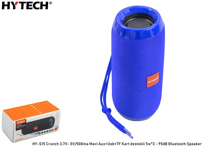 Hytech HY-S15 Crunch 3.7V- 5V/500ma Mavi Aux+Usb+TF Kart destekli 5w*2 - 95dB Bluetooth Speaker