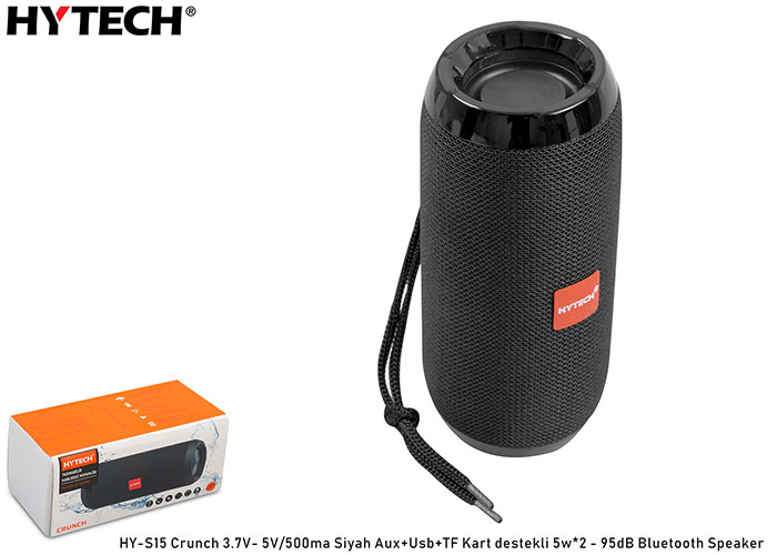 Hytech HY-S15 Crunch 3.7V- 5V/500ma Siyah Aux+Usb+TF Kart destekli 5w*2 - 95dB Bluetooth Speaker