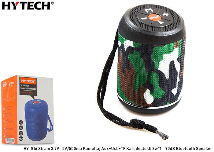 Hytech HY-S16 Strain Kamuflaj Aux+Usb+TF Kart destekli 3.7V- 5V/500ma Bluetooth Speaker