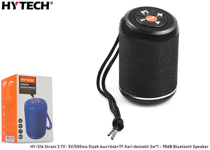 Hytech HY-S16 Strain 3.7V- 5V/500ma Siyah Aux+Usb+TF Kart destekli 3w*1 - 90dB Bluetooth Speaker
