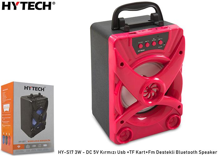 Hytech HY-S17 3W - DC 5V Kırmızı Usb +TF Kart+Fm Destekli Bluetooth Speaker