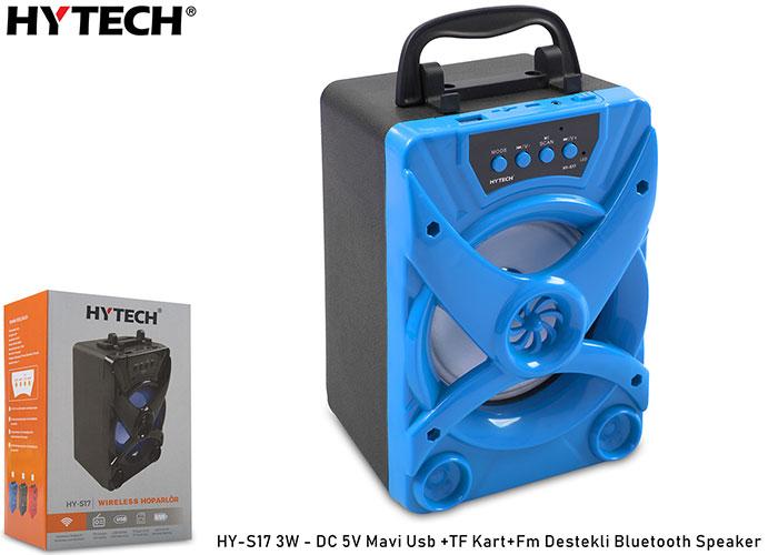 Hytech HY-S17 3W - DC 5V Mavi Usb +TF Kart+Fm Destekli Bluetooth Speaker
