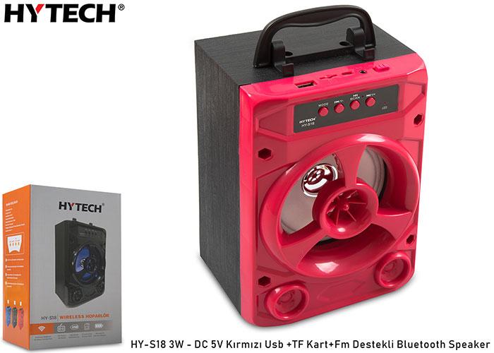 Hytech HY-S18 3W - DC 5V Kırmızı Usb +TF Kart+Fm Destekli Bluetooth Speaker