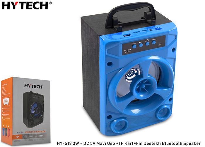 Hytech HY-S18 3W - DC 5V Mavi Usb +TF Kart+Fm Destekli Bluetooth Speaker