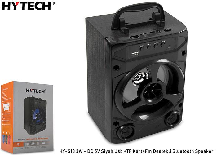 Hytech HY-S18 3W - DC 5V Siyah Usb +TF Kart+Fm Destekli Bluetooth Speaker