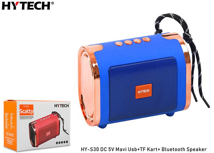 Hytech HY-S30 DC 5V Bluetooth Speaker Mavi Usb+TF Kart+