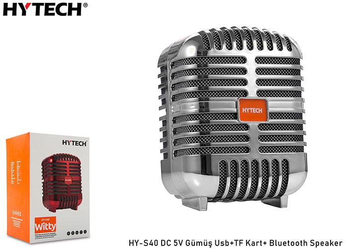 Hytech HY-S40 DC 5V Gümüş Usb+TF Kart+Bluetooth Speaker