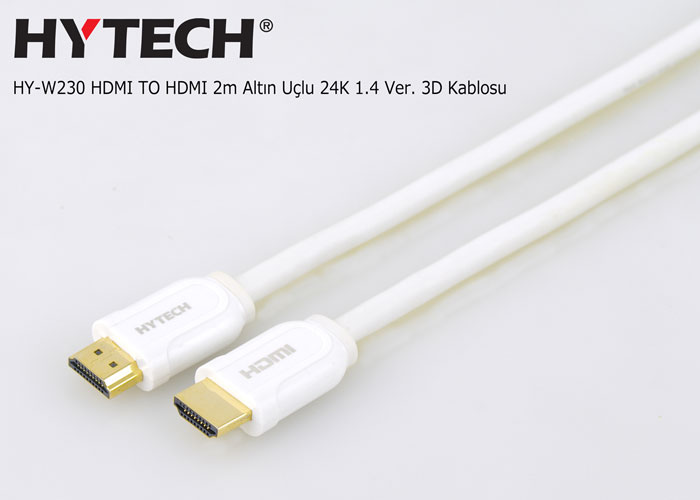 Hytech HY-W230 HDMI TO HDMI 2m Altın Uçlu 24K 1.4 Ver. 3D Kablosu