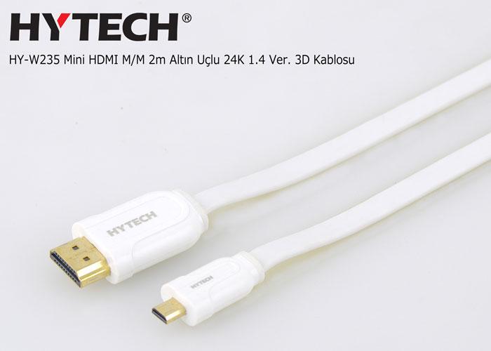Hytech HY-W235 Mini HDMI M/M 2m Altın Uçlu 24K 1.4 Ver. 3D Kablosu