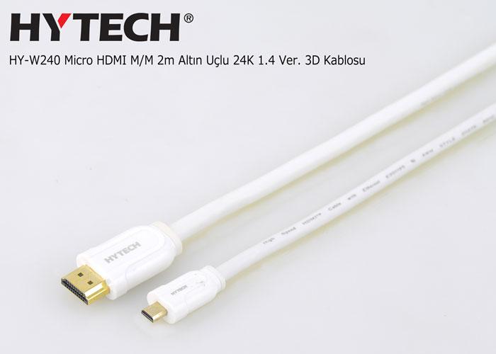 Hytech HY-W240 Micro HDMI M/M 2m Altın Uçlu 24K 1.4 Ver. 3D Kablosu