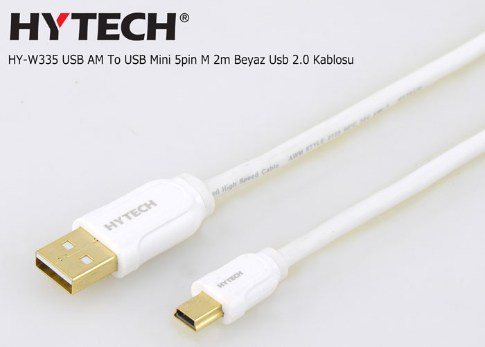 Hytech HY-W335 USB AM To USB Mini 5pin M 2m Beyaz Usb 2.0 Kablosu