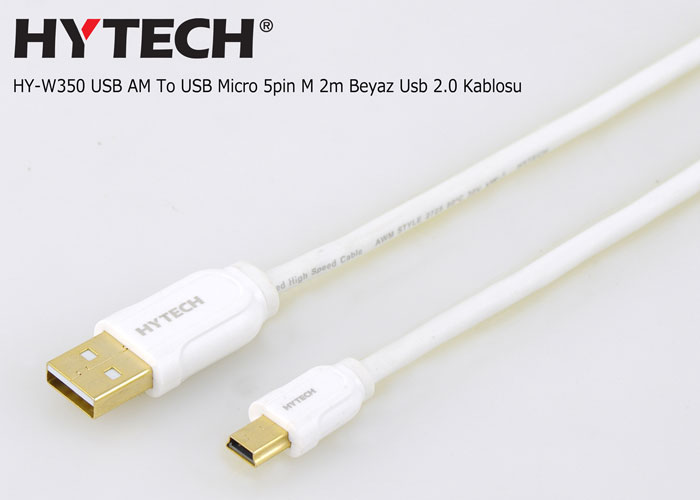 Hytech HY-W350 USB AM To USB Micro 5pin M 2m Beyaz Usb 2.0 Kablosu
