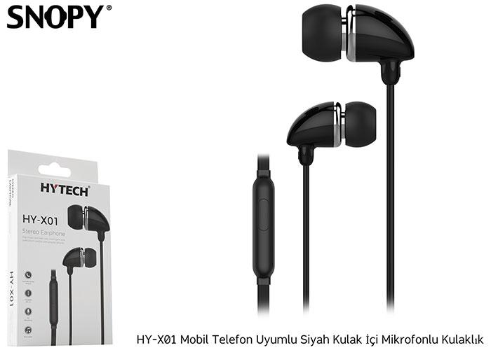 Hytech HY-X01 Mobil Telefon Uyumlu Siyah Kulak İçi Mikrofonlu Kulaklık