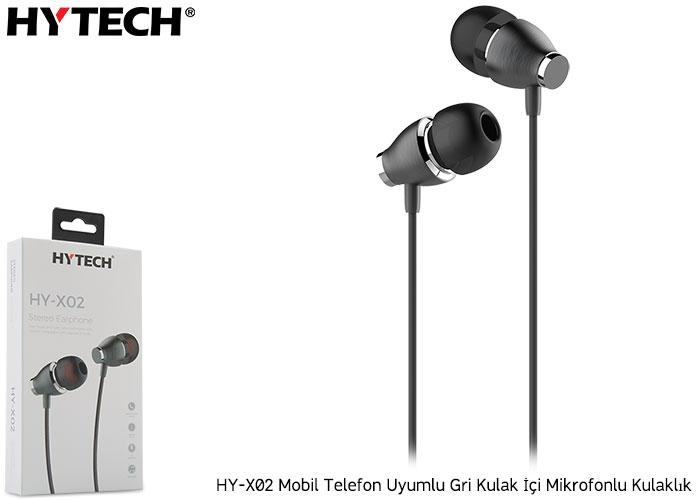 Hytech HY-X02 Mobil Telefon Uyumlu Gri Kulak İçi Mikrofonlu Kulaklık