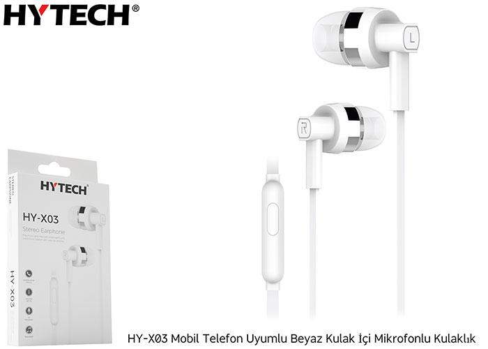 Hytech HY-X03 Mobil Telefon Uyumlu Beyaz Kulak İçi Mikrofonlu Kulaklık